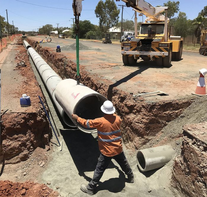 Pipe being laid into position